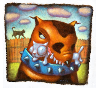 Stylized painting of a toothy dog with a small cat in it's jaws