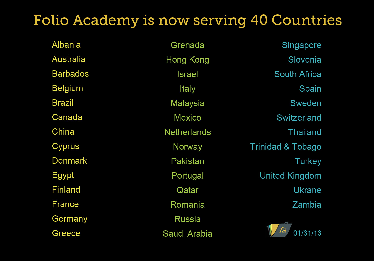 Folio Academy in 40 Countries