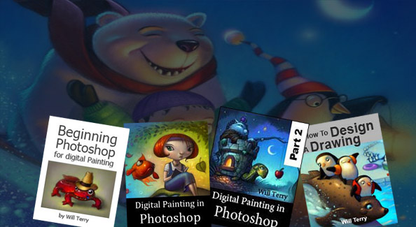 Picture of four bonus video courses: Beginning Photoshop for digital painting, Digital Painting in Photoshop part 1 & 2, and How to Design a Drawing