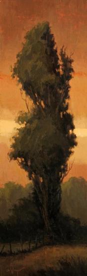 Painting of a tree in front of a reddening sky