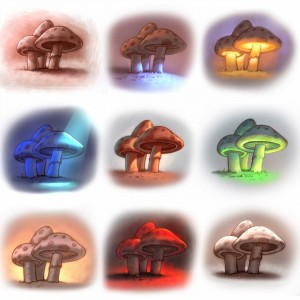 Colored-Mushrooms