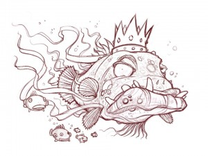 King Fish line art