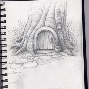 Gnome home, a door in a tree