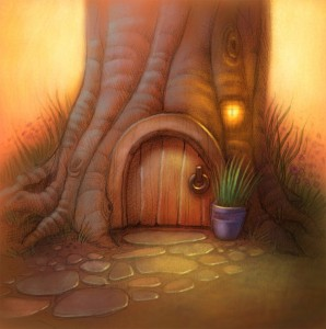 digital artwork of a Hobbit home or gnome home