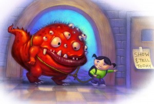 A little girl with a big monster for show and tell