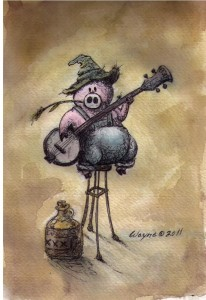 Water color, banjo playing pig ~wayne andreason