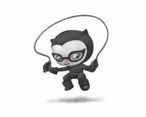 Catwoman type Cat Girl Jumping rope. Fan art