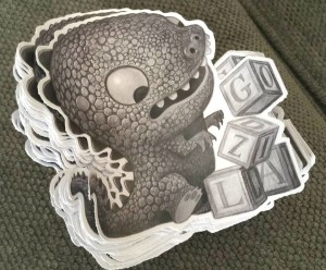 free godzilla sticker comic con give away