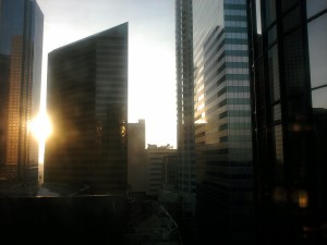 Sun shining through the city-scape of LA