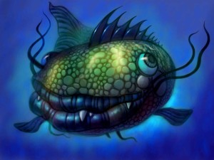 finished pic of a strange fish ipad painting by Will Terry