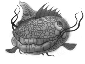 ipad painting/sketch of the strange fish by Will Terry finger painting