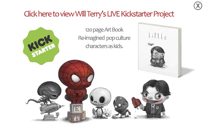 ad & link to the kickstarter page for Little, the book of pop culture characters
