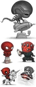 an alien, a spider boy, and other little super heroes.