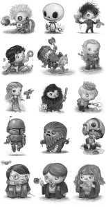 a bunch of the little pop culture characters