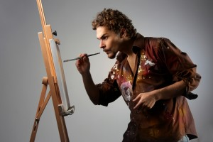 artist loving his arting