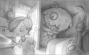 Illustration black and white sketch, of a monster in a bedroom