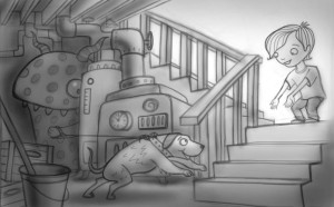 sketch for picture book, and app of boy and his dog in the basement.
