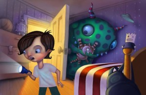 Finished Illustration of Monster Hiding in little boy's bedroom