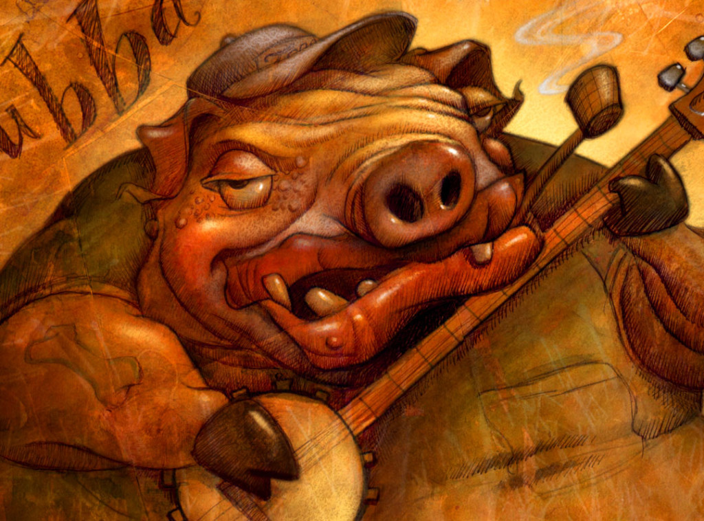 Illustration/Sketch by Will Terry, of an ugly fat pig, playing a banjo.